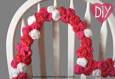 DIY crepe paper rose heart shaped frame