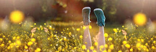 girl waering green sneakers in yellow flowers cover photo for facebook