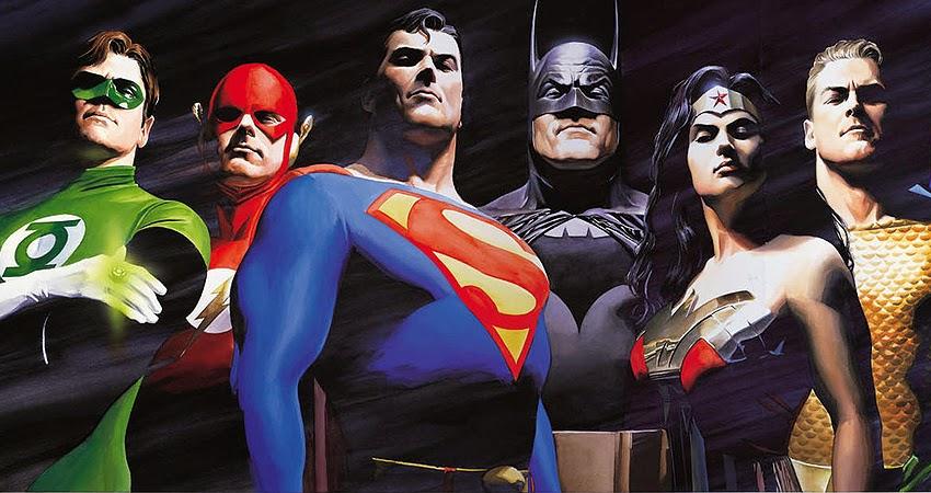 Lanterna Verde, Flash, Super-Homem, Batman e Mulher Maravilha
