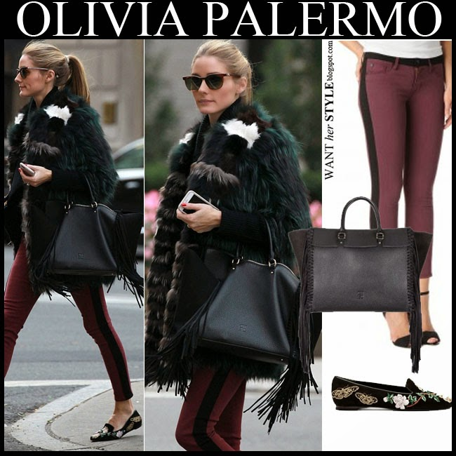 Olivia Palermo in green fur coat with burgundy jeans and black fringe bag want her style october 20 2014 winter streetstyle