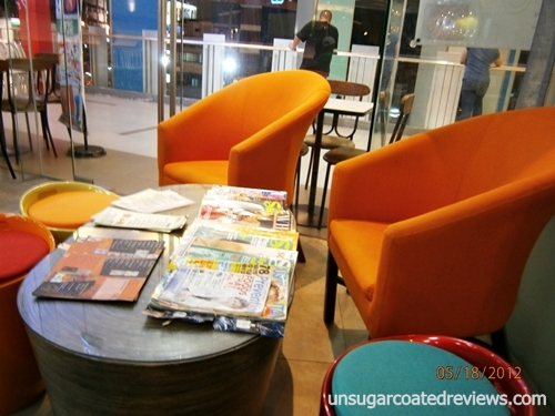 The Works Bistro orange couch