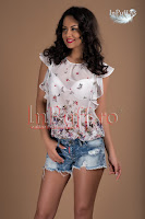 Bluza imprimeu floral voal ivoire (Ade)