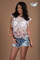 Bluza imprimeu floral voal ivoire (Ade)