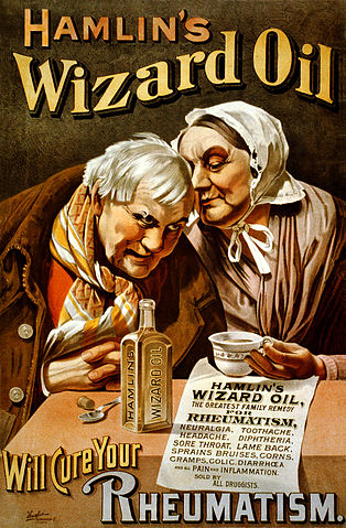 A poster for Hamlin's Wizard Oil, with a list of the many things it's supposed to cure