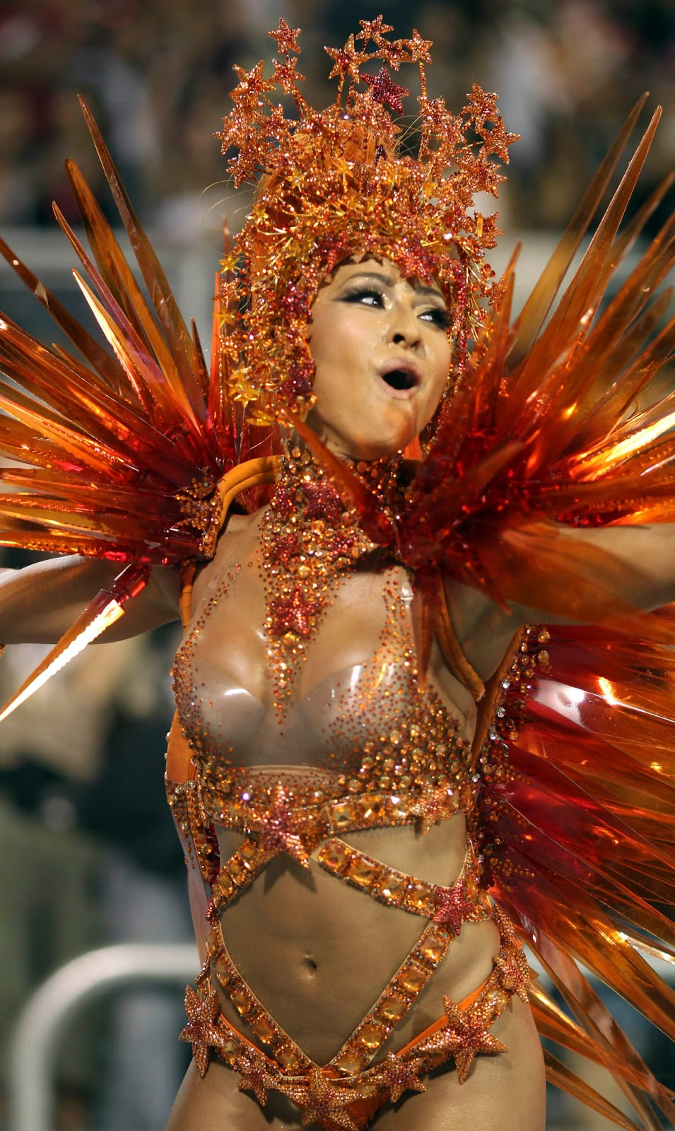 Drum queen Sheron Menezes of the Portela samba school dances on the first night of the annual Carnival parade in Rio de Janeiro's Sambadrome, February 19, 2012.
