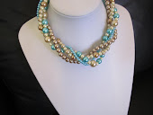 Turquoise, Bronze and Champagne Twisted Statement Necklace