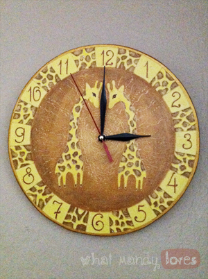 Lovely Find & Treasure: Hand-Painted Giraffe Clock via www.whatmandyloves.com