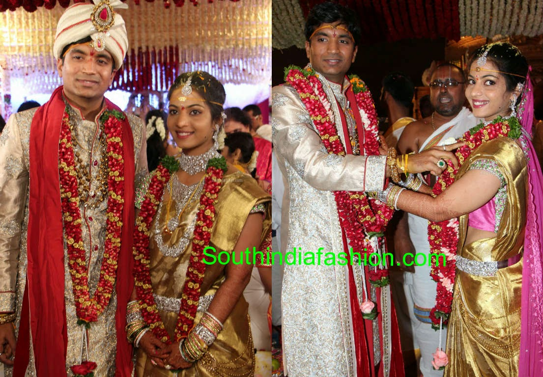 pretty bride in gold kanjeevaram saree