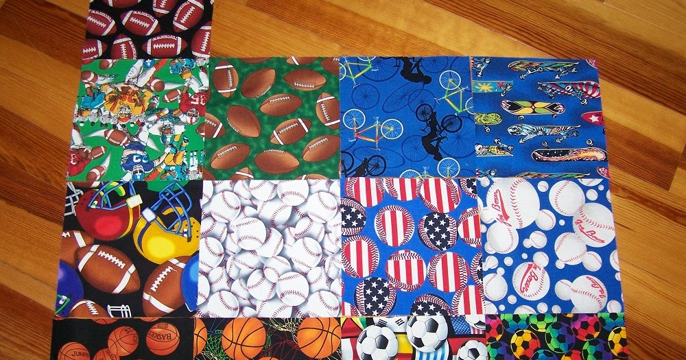 Sports Themed Quilt Patterns : Busy Hands Quilts: Sports-Themed Fabric Squares