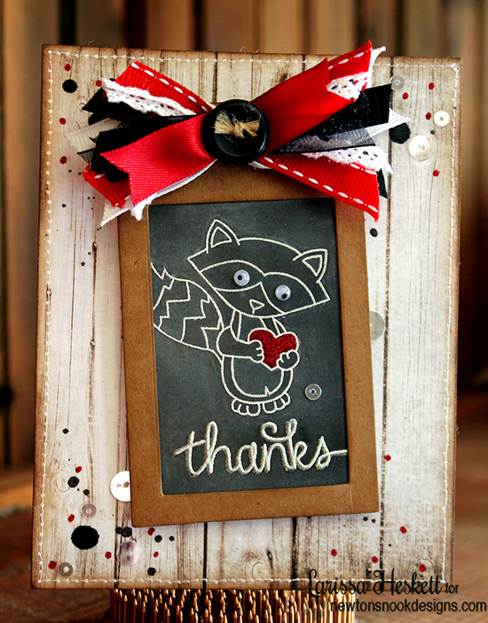Thanks raccoon card by Larissa Heskett | Stamps by Newton's Nook Designs
