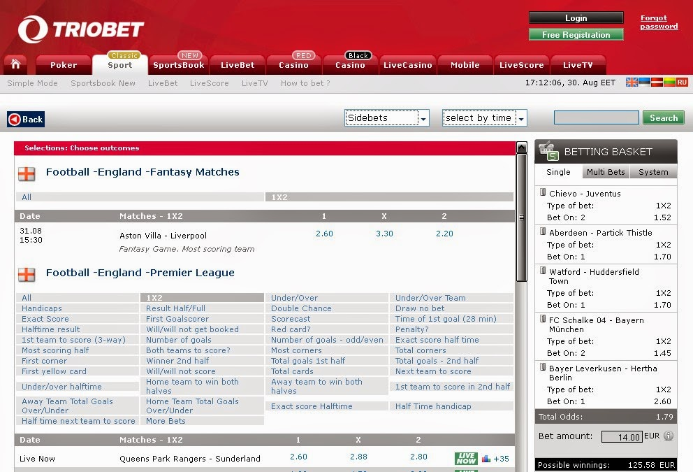Triobet Sportsbook Screen