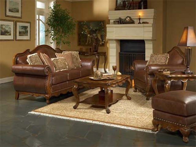 Living room decorating ideas with brown leather furniture for Drawing room furniture ideas