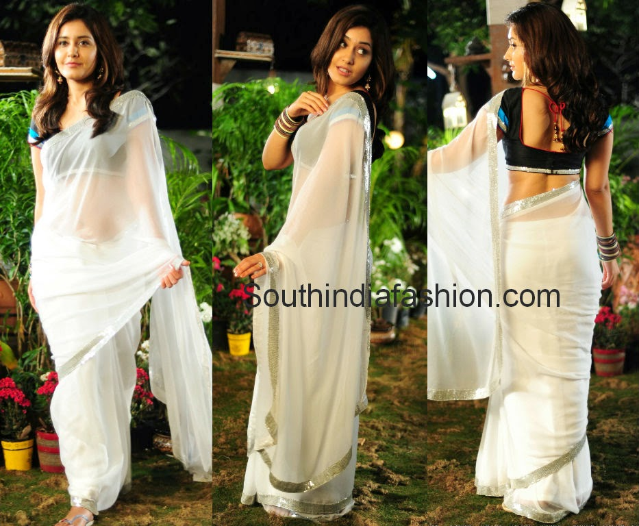 Actress rashi khanna in simple white plain chiffon saree with sequins