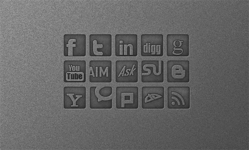 Free PSD Dark Social Media Icons
