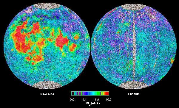 Mapa de la concentración de Titanio en la luna. Sonda Clementine.