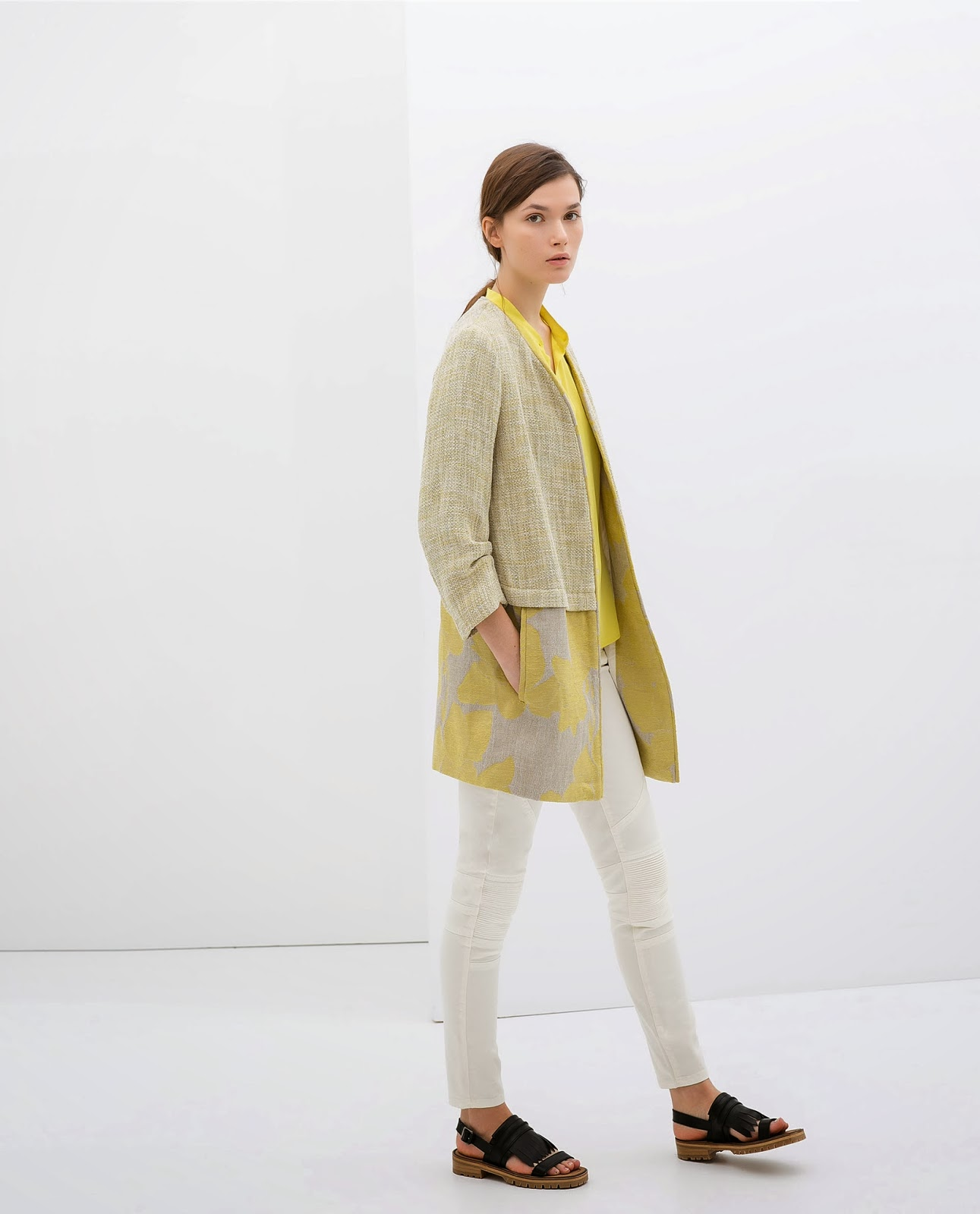 zara patterned coat