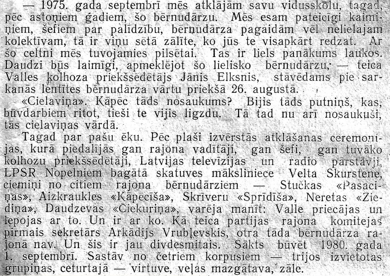 Valles bērnudārza atklāšana 1983. gada 1. septembrī - teksts - 1