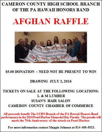 7-2 Afghan Raffle Cameron County High School