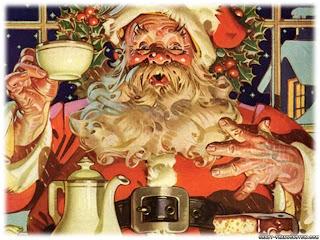 Santa Claus drinking tea
