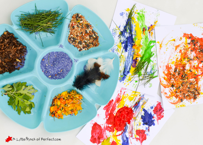 Nature Painting Texture Collage for Kids -