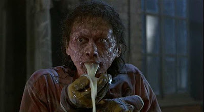Jeff Goldblum in The Fly throwing up