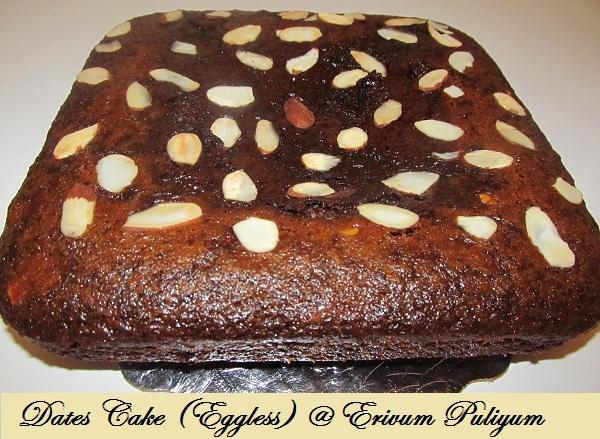 Dates Cake (Eggless, Butterless)~ Best baked healthy cake !!!!