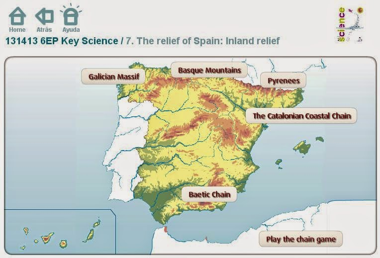 The relief of Spain
