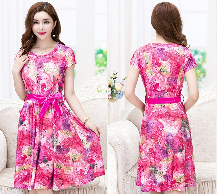 New 2016 8-Design Plus Size Floral Print Flare Dress