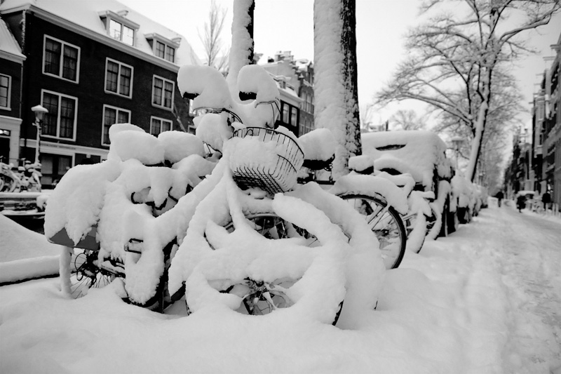 snow Amsterdam winter bicycle Holland white
