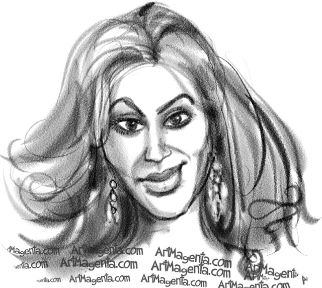 Beyonce caricature cartoon. Portrait drawing by caricaturist Artmagenta.