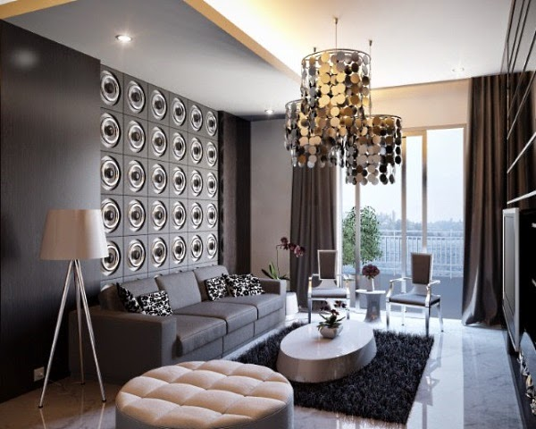 Designing a small living room from a to z 20 design ideas - Apartment interior design ideas with black woven light fixtures ...