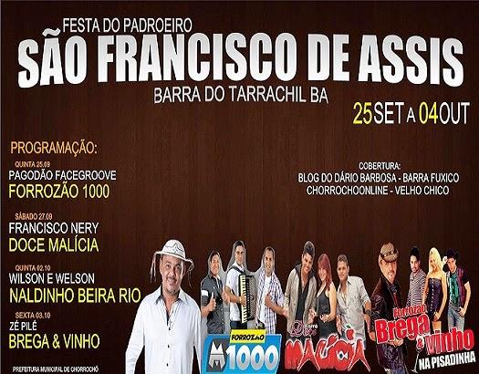 PROGRAMAÇÃO DA FESTA DA BARRA 2014