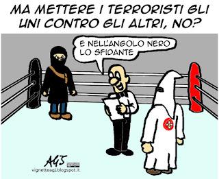 Isis, Ku Klux Klan, USA, terrorismo, vignetta satira