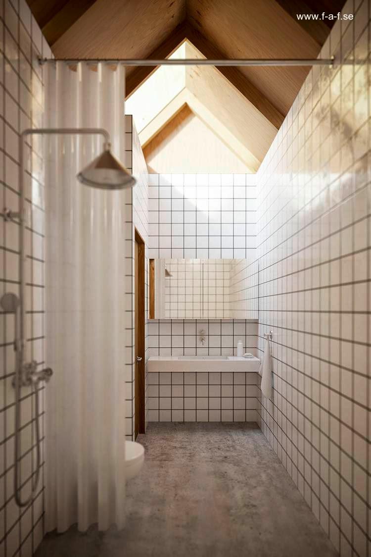 Baño en la cabina dentro del primer volumen de la casa