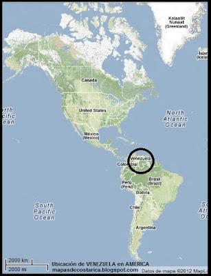 Mapa de Relieve.Ubicación de VENEZUELA en AMERICA