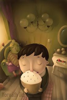 kisfiú nagyinál süteményt eszik,almák csillár, nagyi, szőnyeg,boy with grandma, eating cake, nice time, feeling good