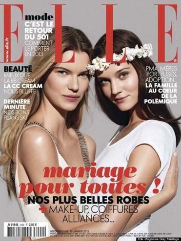 Elle francesa faz capa com casal lésbico em apoio ao casamento igualitário (Foto: Reprodução)