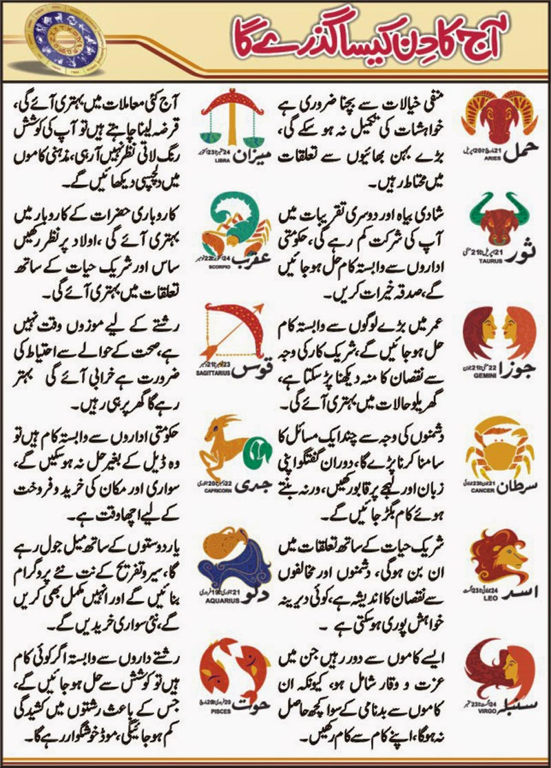 Daily Horoscope In Urdu 01 May  2015 All Star