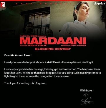 Rani Mardaani Blogging Contest - Anmol Rawat