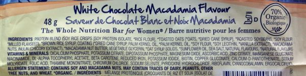 Vegan White Chocolate Macadamia Luna Bar ingredients