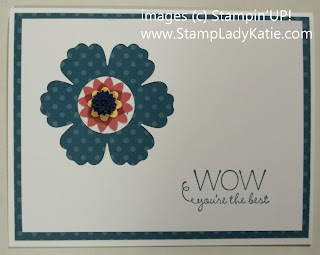 Card made with Stampin'UP! flower punches and Designer Print Papers