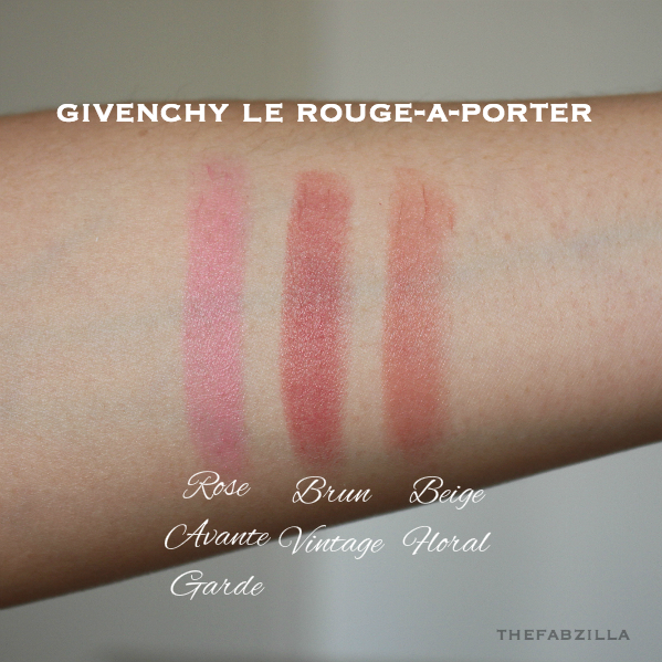 Givenchy Le Rouge-À-Porter Rose Avant-Garde, Brun Vintage, Beige Floral, swatch, review, photos tom ford lip color, best spring lipsticks, best summer lipsticks