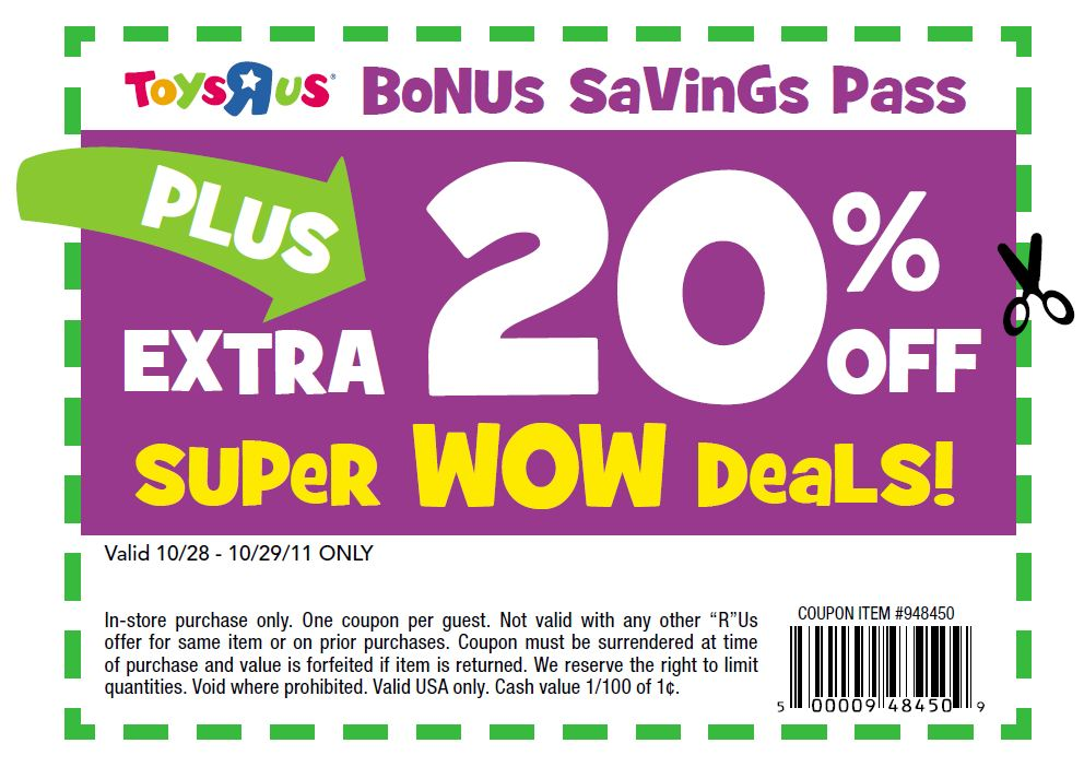 Toys R Us coupon: Save 20% off October 28 and 29 only