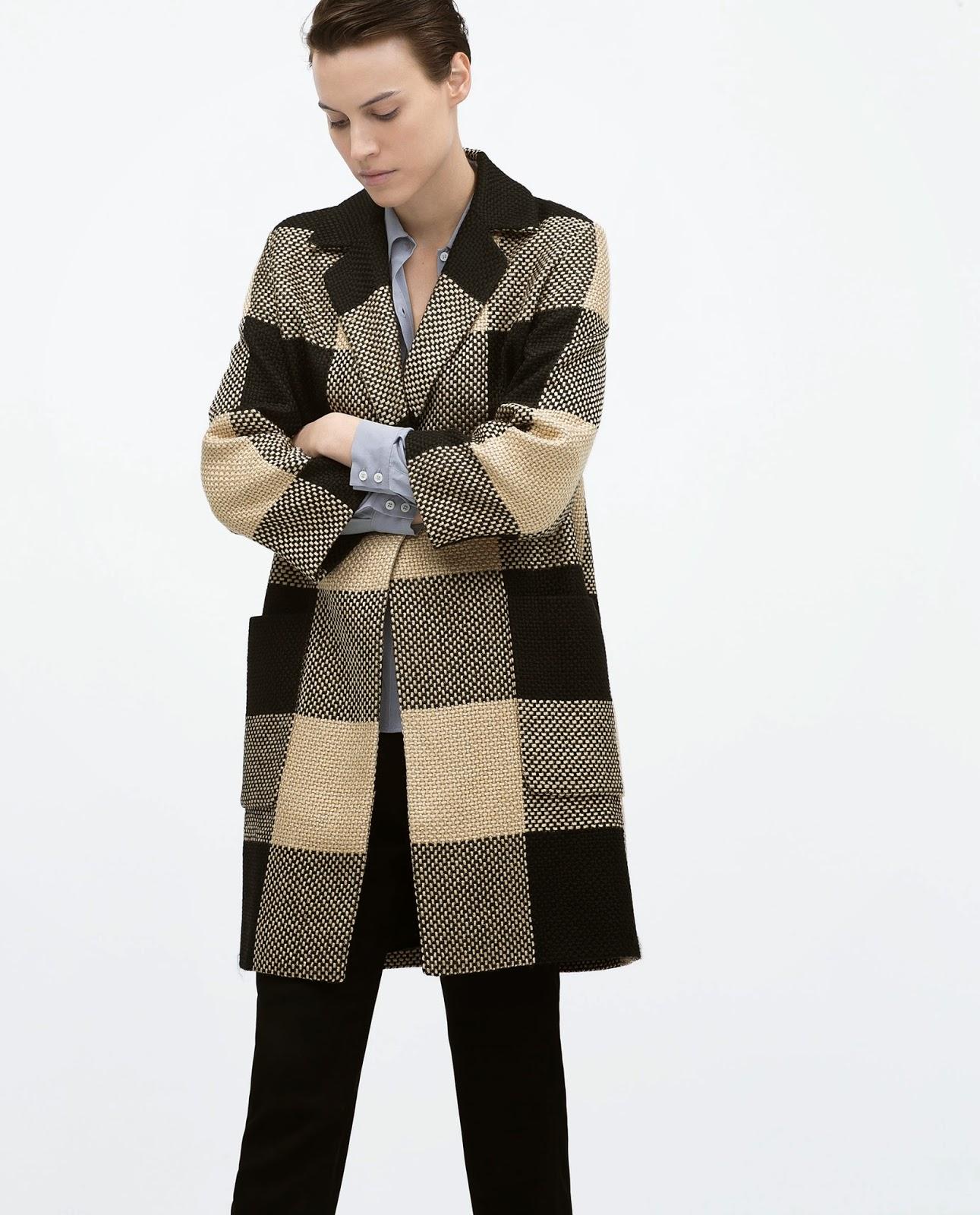 zara check coat, cream black checked coat,