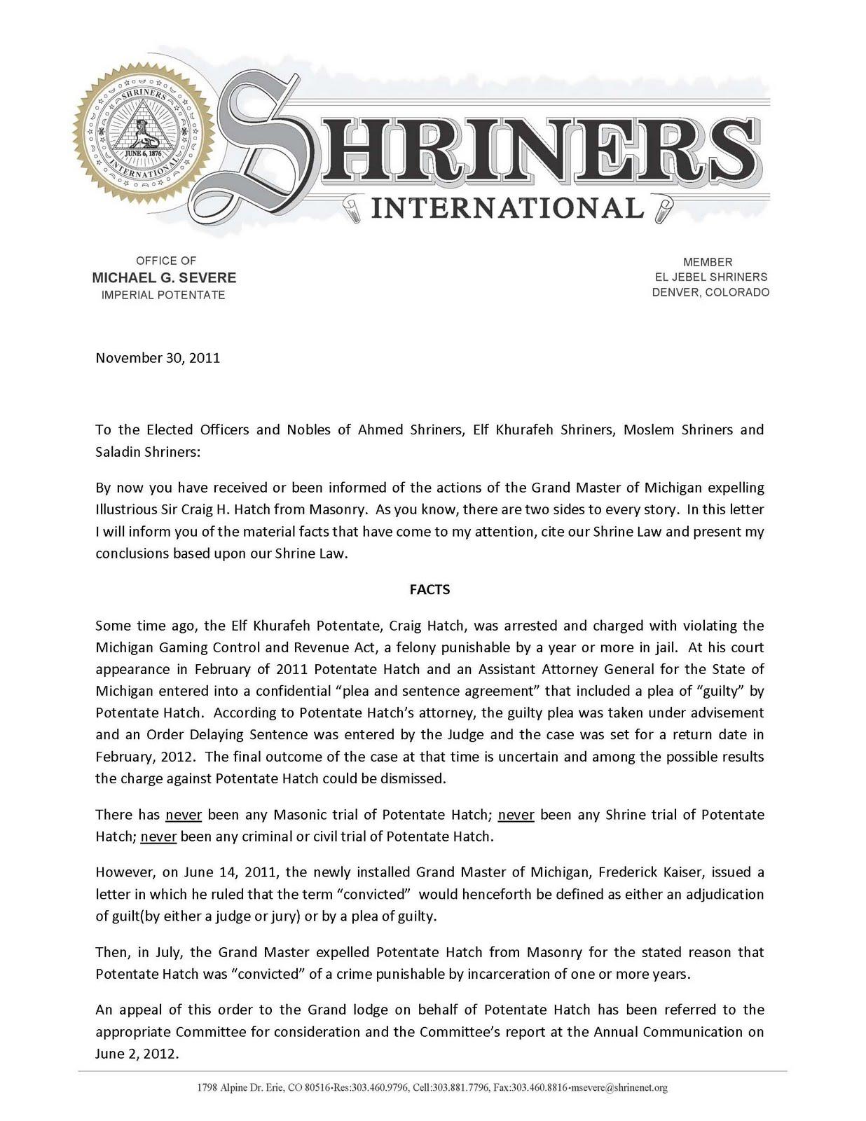 Freemasons For Dummies: Michigan: Shriners Respond To Grand Masteru0027s Order