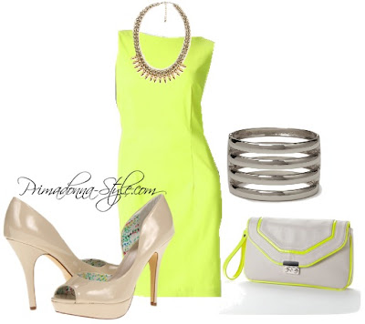 AB Studio Solid Sheath Dress  Fergalicious Eileen  Apt. 9 Caley Clutch  Forever 21 Spiked Fringe Beaded Necklace   Forever 21 Cutout Striped Hinge Cuff