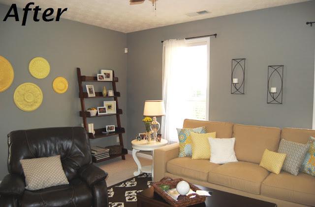 Yellow, Grey, White Living Room