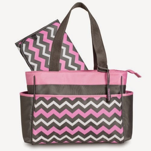 Gerber Chevron Diaper Tote Bag, Pink