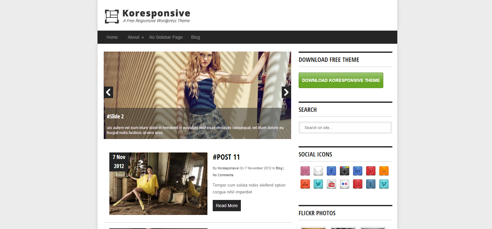 Koresponsive – A free Responsive WordPress Theme