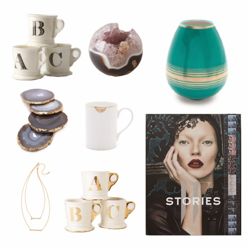 Anthropologie, Shopbop, Mug, Necklace, Vase, Coasters, Crystals, Books, Fashion, Decor